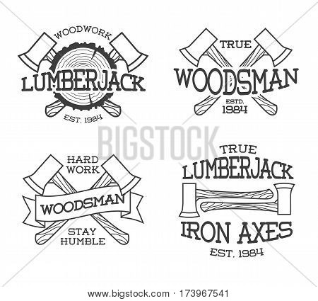 Set of lumberjack and woodsman labels. Posters, stamps, banners and design elements. Isolated on white background. Wood work and manufacture label templates. Vector illustration.