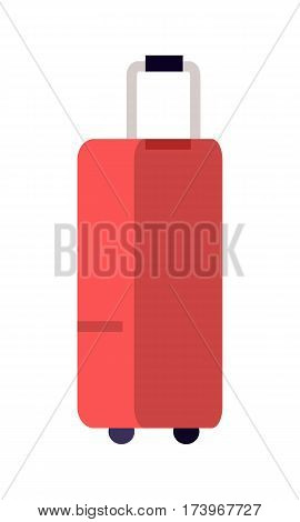Illustration of red suitcase. Red suitcase Icon. Large red plastic suitcase in flat. Travel design element. Isolated object on white background. Vector illustration.