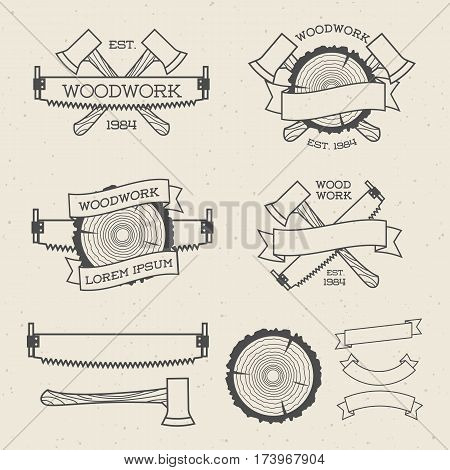 Woodwork label set with saw, ax and tree ring. Posters, stamps, banners and design elements. Isolated on white background. Wood work and manufacture label templates. Vector illustration.