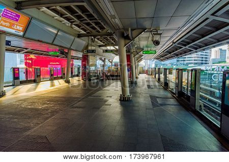 BANGKOK THAILAND - JANUARY 30: Siam BTS sky train station which is a busy station in the downtown area of Bangkok where many tourists and locals board the train on January 30 2017 in Bangkok