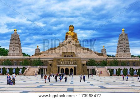 KAOHSIUNG TAIWAN - NOVEMBER 23: This is a view of the Buddha memorial center on Fo Guang Shan a buddhist monastery in the mountain of Kaohsiung on November 23 2016 in Kaohsiung