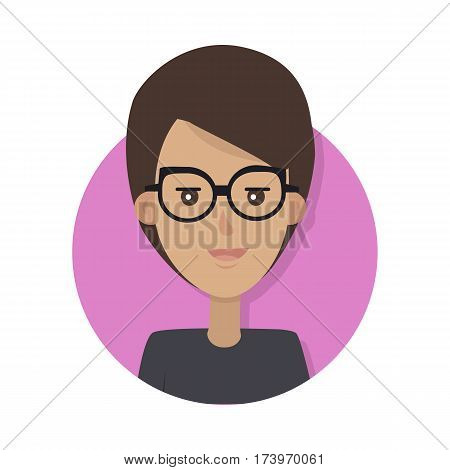 Woman face emotive icon. Smiling cute brown-haired female character in glasses flat vector isolated on white. Happy human psychological portrait. Positive emotions user avatar. For app, web design