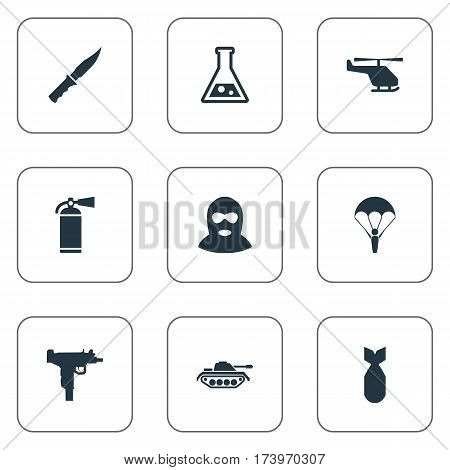 Set Of 9 Simple War Icons. Can Be Found Such Elements As Terrorist, Chemistry, Heavy Weapon And Other.