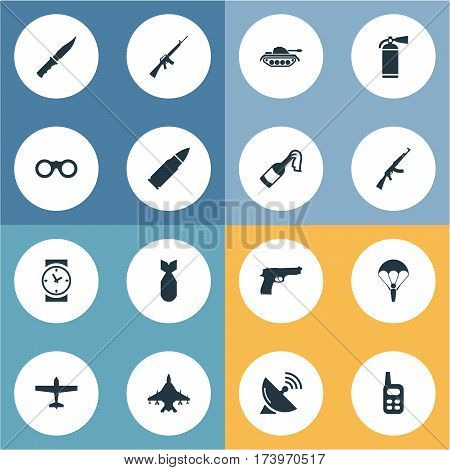 Set Of 16 Simple Army Icons. Can Be Found Such Elements As Pistol, Ammunition, Paratrooper And Other.