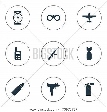 Set Of 9 Simple Military Icons. Can Be Found Such Elements As Extinguisher, Nuke, Air Bomber And Other.