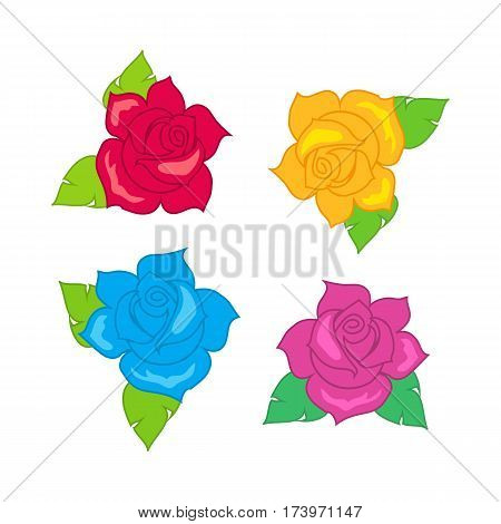Red blue pink purple rose with green leaves. Illustration of isolated big blossoms in cartoon style. Fashion. Decoration. Accessory. Rosebud ornament. Floral embellishment. Flat design. Vector