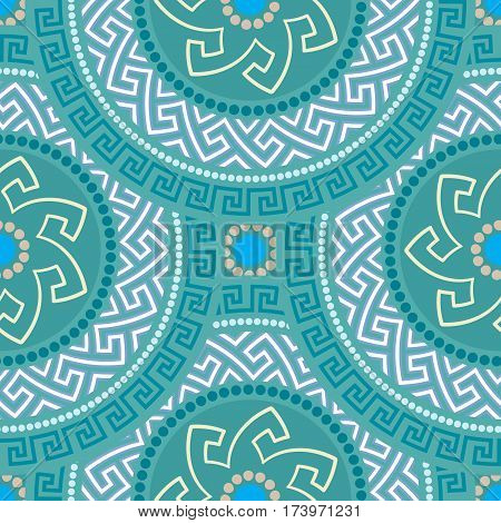 Traditional seamless vintage circle shaped ornate elements with Greek ornament Meander in blue colors. Can be used for wrapping paper, fabric, ceramic. Vector illustration