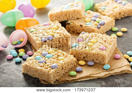 Rice krispies treats with pastel colored candy for Easter