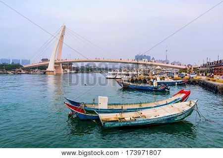 TAIPEI TAIWAN - JANUARY 05: View of the docks at Fisherman's Wharf in in the Tamsui area of Taipei on January 05 2017 in Taipei