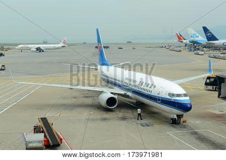 HONG KONG - AUG. 29, 2016: China Southern Airlines B737-800 at Hong Kong International Airport Chek Lap Kok Airport.