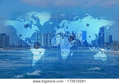 World map with oil extraction areas on city skyline background