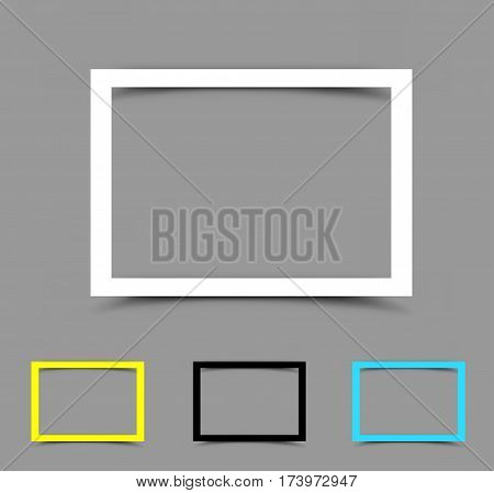 Piece of white yellow black and blue horizontal paper frame for note, message, quote or picture with the shadow on gray background. Easy to edit different colors
