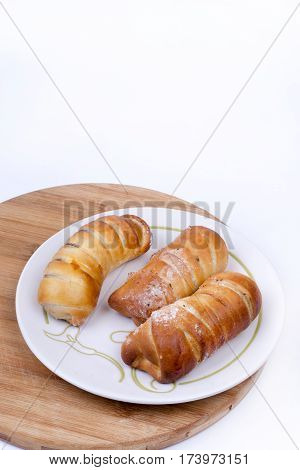 Homemade Sweet Baked Rolls Buns Copy Space Over White