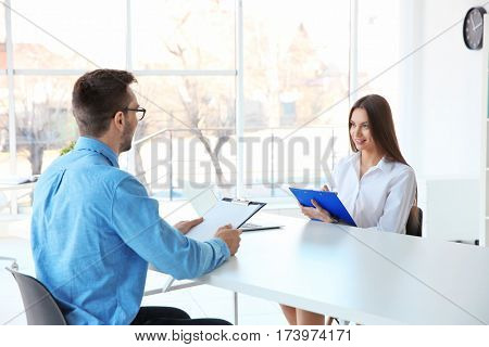 Job interview concept. HR manager interviewing man
