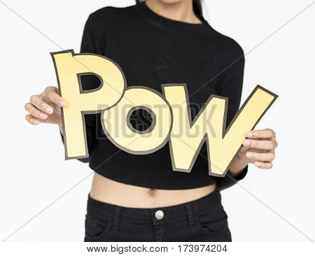 Woman holding pow word illustration