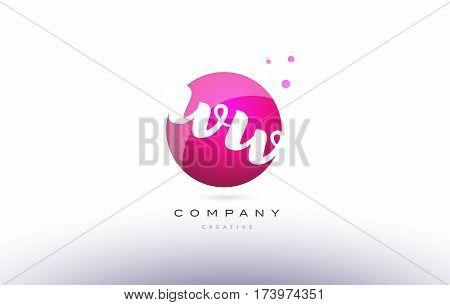 Ww W  Sphere Pink 3D Hand Written Alphabet Letter Logo