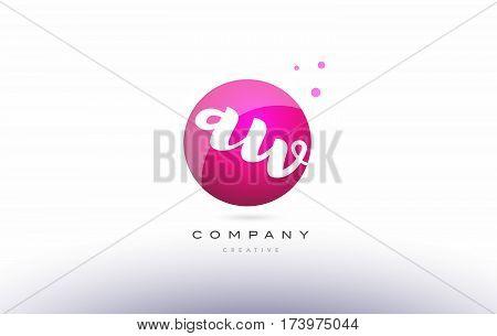 Aw A W  Sphere Pink 3D Hand Written Alphabet Letter Logo
