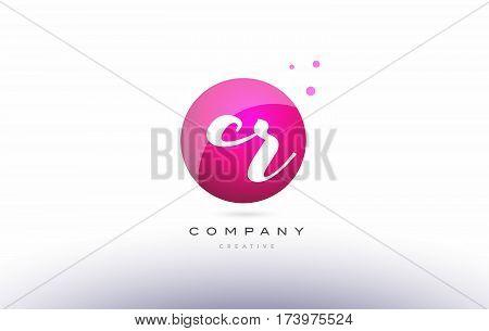 Cr C R  Sphere Pink 3D Hand Written Alphabet Letter Logo