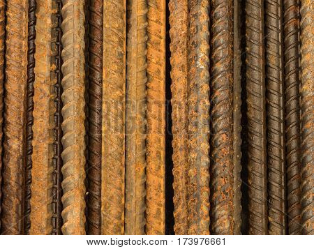 close up Rusty steel rebars for reinforcement concrete