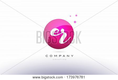 Er E R  Sphere Pink 3D Hand Written Alphabet Letter Logo