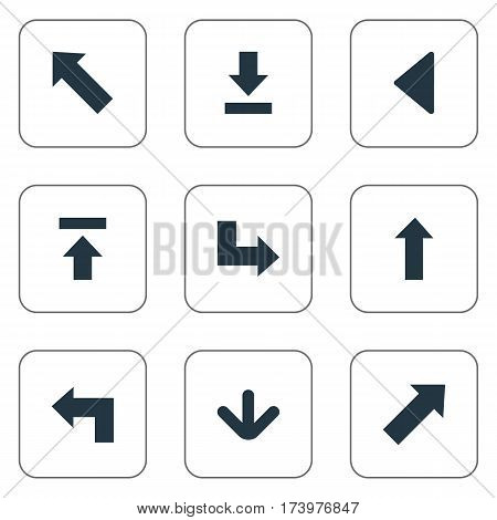 Set Of 9 Simple Arrows Icons. Can Be Found Such Elements As Upward Direction, Pointer, Let Down And Other.