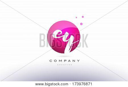 Ey E Y  Sphere Pink 3D Hand Written Alphabet Letter Logo
