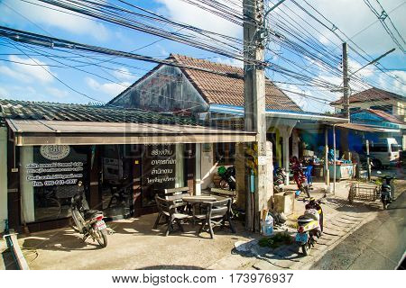 Thailand, Phuket - 19 February 2017 : Typical scene of life on the street in Thailand. roadside cafe