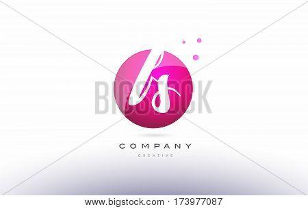Fs F S  Sphere Pink 3D Hand Written Alphabet Letter Logo