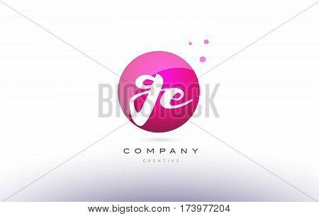 Ge G E  Sphere Pink 3D Hand Written Alphabet Letter Logo
