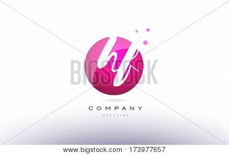 Hf H F  Sphere Pink 3D Hand Written Alphabet Letter Logo