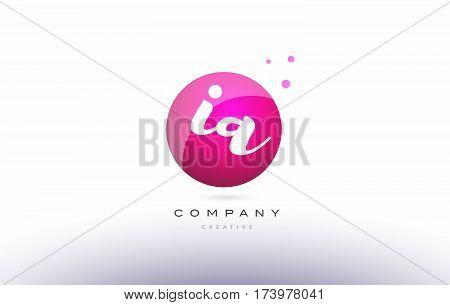 Ia I A  Sphere Pink 3D Hand Written Alphabet Letter Logo