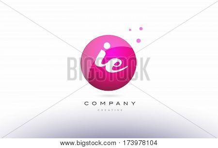 Ie I E  Sphere Pink 3D Hand Written Alphabet Letter Logo