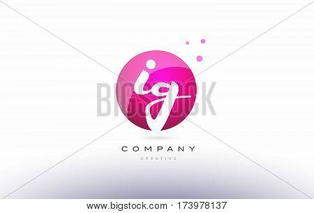 Ig I Q  Sphere Pink 3D Hand Written Alphabet Letter Logo