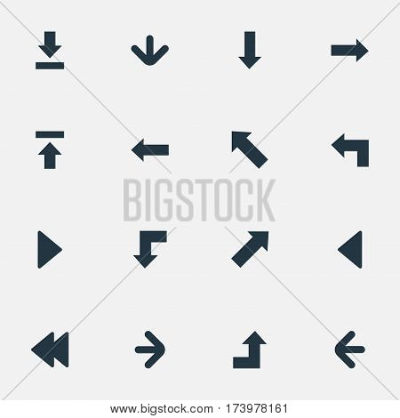 Set Of 16 Simple Pointer Icons. Can Be Found Such Elements As Increasing, Downwards Pointing, Pointer And Other.