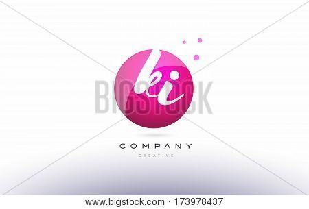 Ki K I  Sphere Pink 3D Hand Written Alphabet Letter Logo