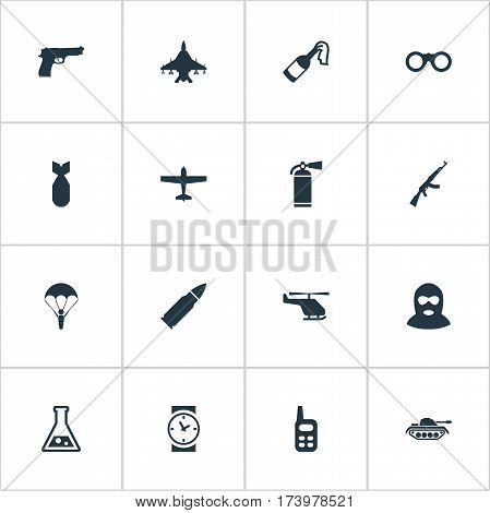 Set Of 16 Simple Military Icons. Can Be Found Such Elements As Watch, Walkies, Air Bomber And Other.