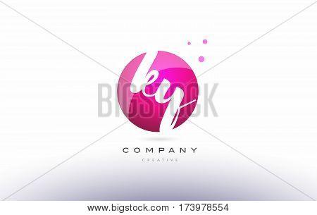 Ky K Y  Sphere Pink 3D Hand Written Alphabet Letter Logo