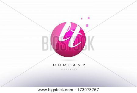 Lt L T  Sphere Pink 3D Hand Written Alphabet Letter Logo