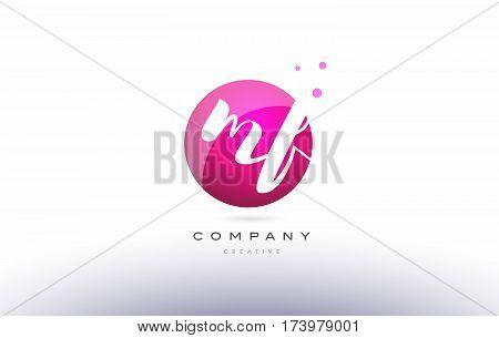Mf M F  Sphere Pink 3D Hand Written Alphabet Letter Logo