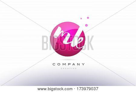 Mk M K  Sphere Pink 3D Hand Written Alphabet Letter Logo