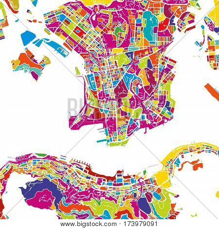 Hong Kong Colorful Map