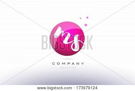 Ms M S  Sphere Pink 3D Hand Written Alphabet Letter Logo