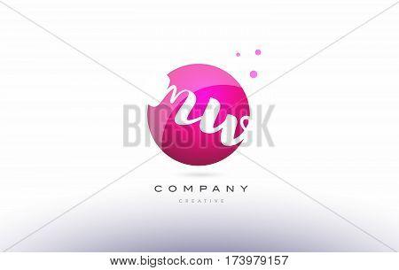 Mw M W  Sphere Pink 3D Hand Written Alphabet Letter Logo
