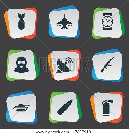 Set Of 9 Simple Terror Icons. Can Be Found Such Elements As Ammunition, Extinguisher, Nuke And Other.