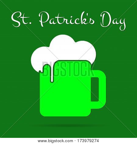 Saint Patricks Day square greeting card - bright green glass of beer with white froth and text in front of a dark green background