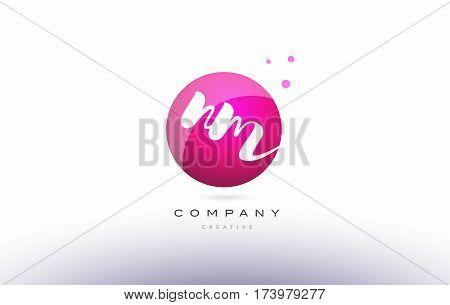 Nm N M  Sphere Pink 3D Hand Written Alphabet Letter Logo