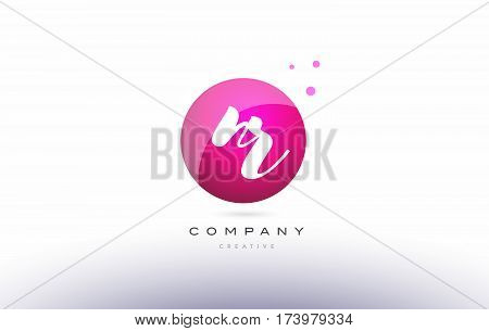Nr N R  Sphere Pink 3D Hand Written Alphabet Letter Logo