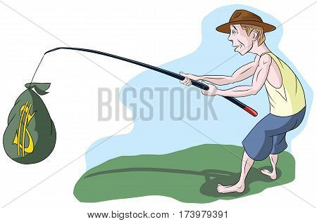 The man in the hat caught on a fishing rod bag of money, illustration