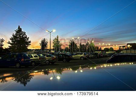 Evening in the parking lot at the supermarket, Olomouc, Czech Republic