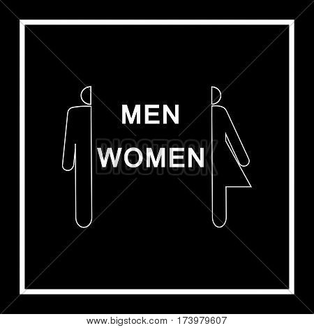 Silhouette men and women icon in square on black background. Sign restroom women and men. Symbol public washroom and bathroom. Template for postersign. Flat vector image. Vector illustration